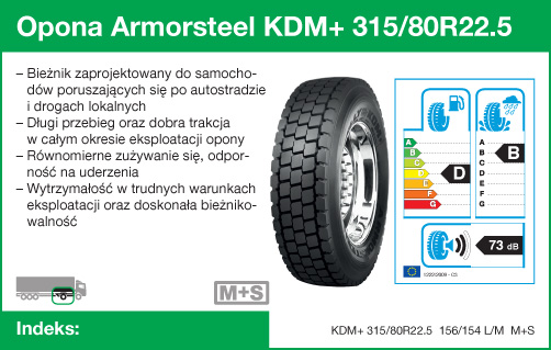 Opona Armorsteel KDM+ 315/80R22.5