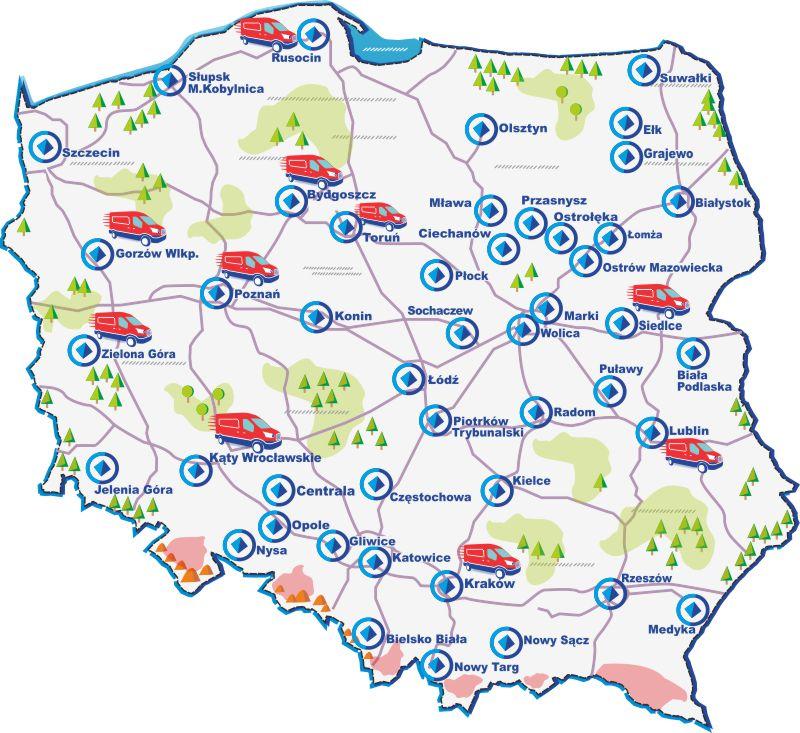 Mapa oddziałów OPOLTRANS
