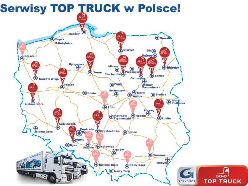 Mapa z serwisami OPOLTRANS Top Truck