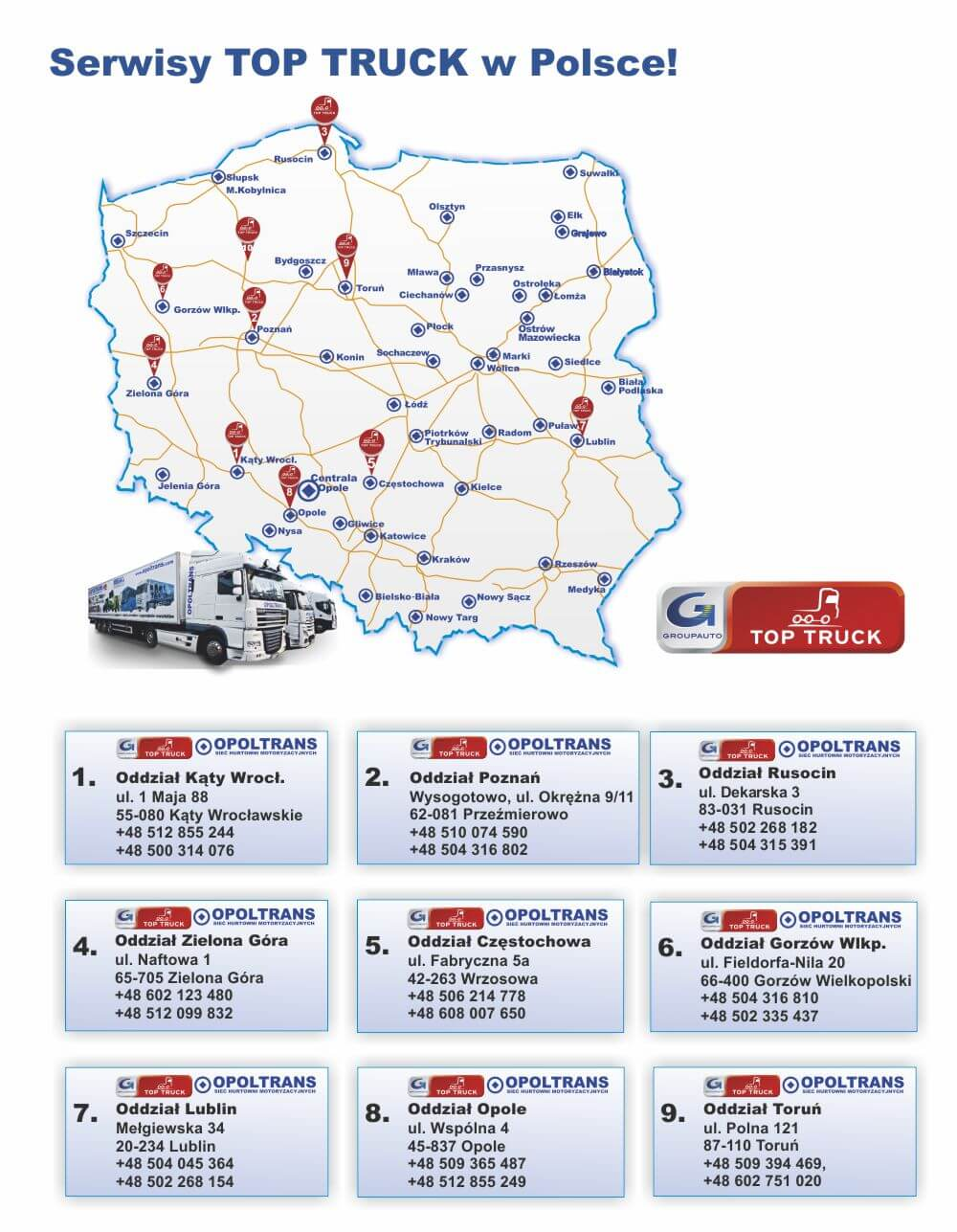 Mapa sieć serwisów OPOLTRANS Top Truck