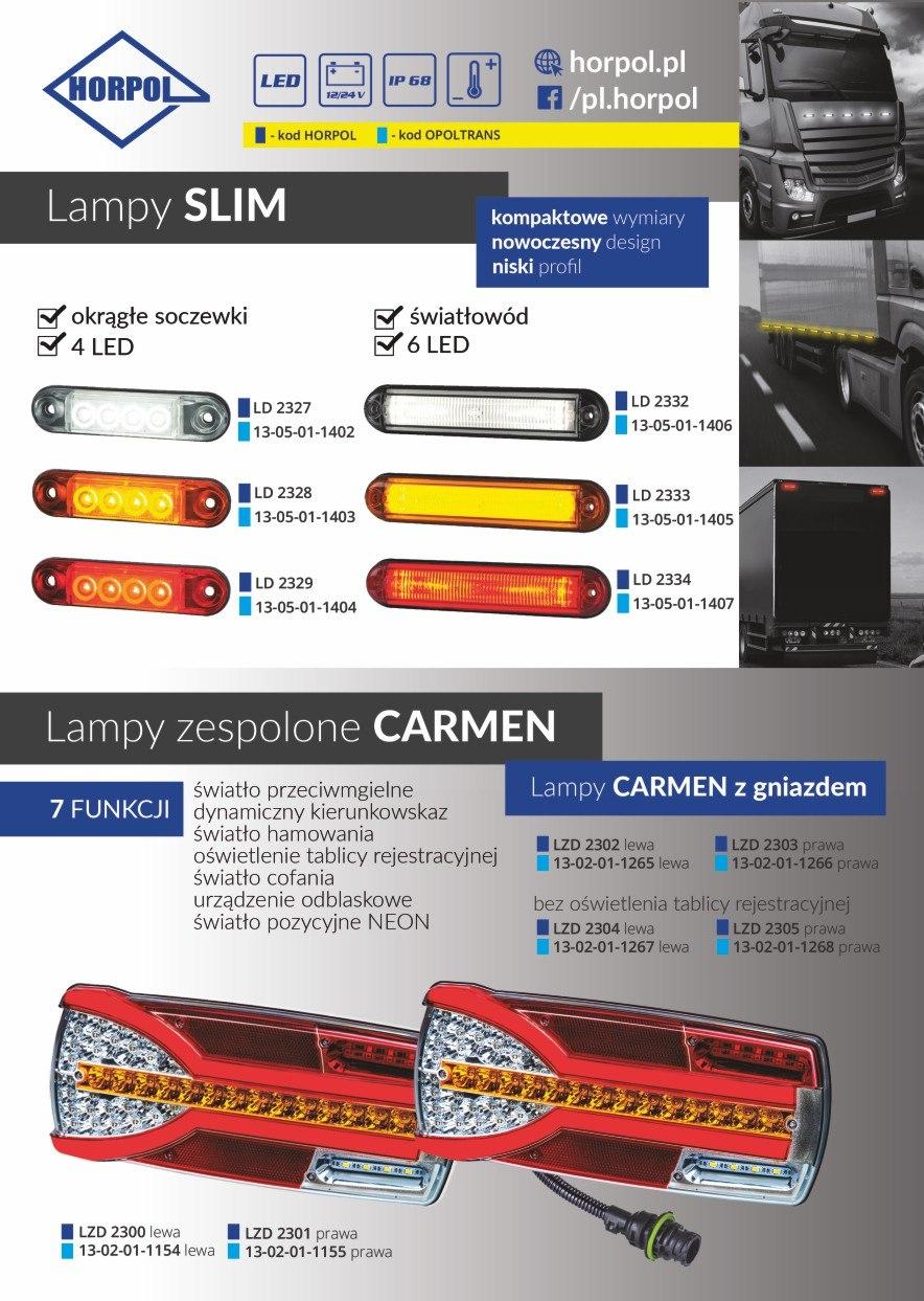Lampy slim oraz lampy zespolone Carmen od firmy Horpol