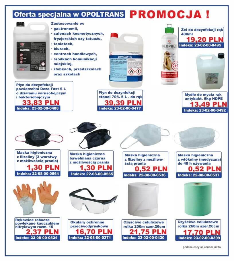 Produkty środków ochrony osobistej, oraz zabezpieczenie