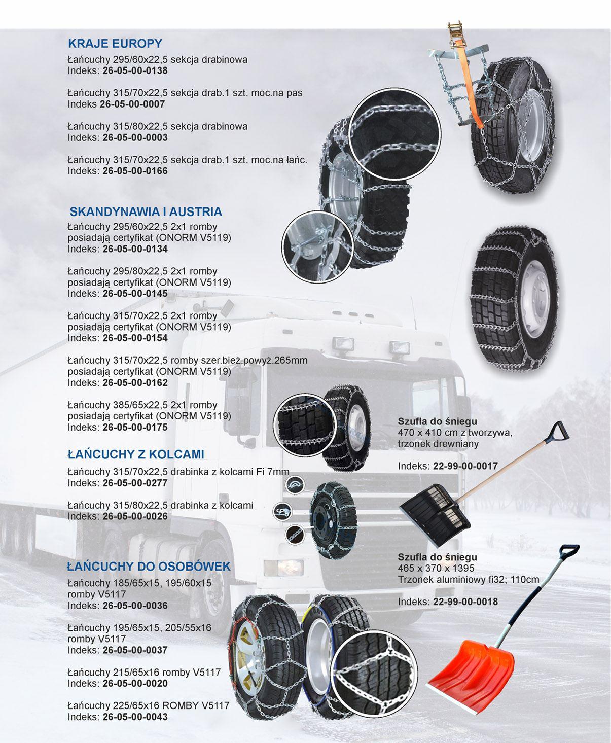 Łańcuchy śniegowe, szufle i łopaty oferta