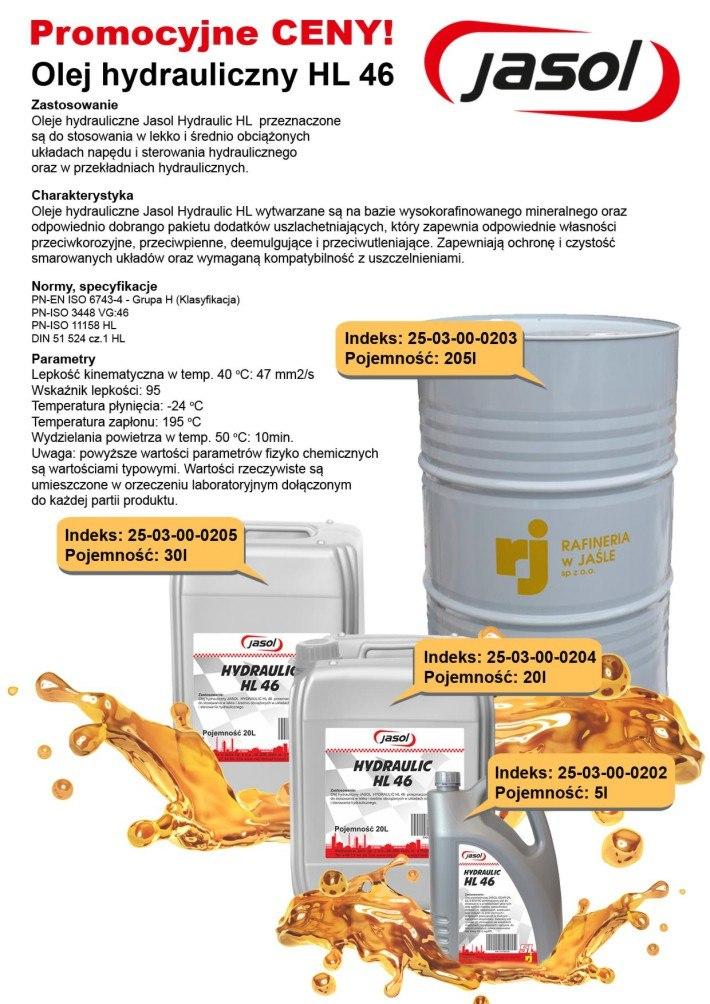 Oferta oleje hydrauliczne Jasol